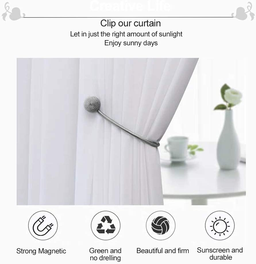 Decorative Rope Holdback Holder for Big,Wide or Thick Window Drapries,16 Inch Long Curtain Holdbacks The Most Convenient Drape Tie Backs 6PACK Silver Grey LUYIMIN Magnetic Curtain Tiebacks