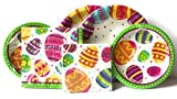 Easter Paper Plates and Napkins Set - Set of 32 Party Creations Durable Paper Plates and 32 Napkins - Durable and Very Cute and Colorful Theme Set - GREAT VALUE (Easter Egg Fun Theme)