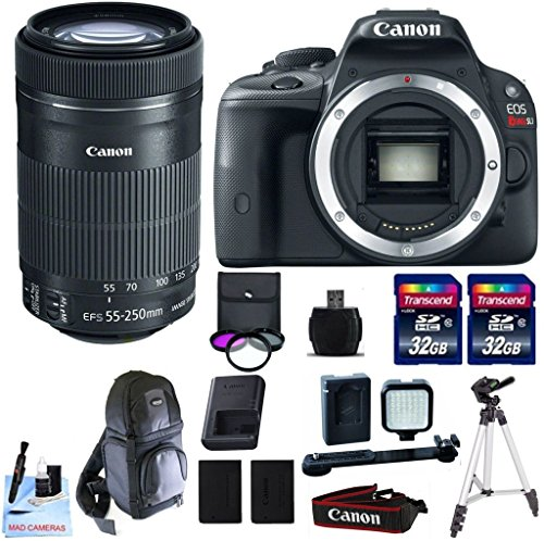 Canon EOS REBEL SL1 + Canon EF-S 55-250mm f/4-5.6 IS STM Lens + 2 32GB Transcend SD Memory Cards + LED Video Light Kit & More - International Version