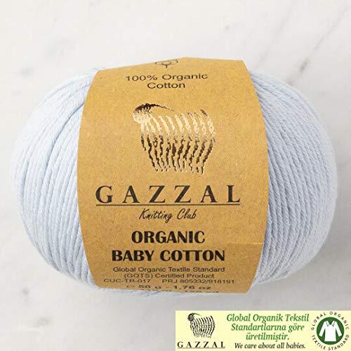 5 Ball (Pack) Gazzal Organic Baby Cotton Yarn, Total 8.8 Oz. 100% Organic Cotton, Each 1.76 Oz (50g) / 125 Yrds (115 m), 3 Light DK, Baby Blue - 417