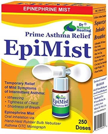 EpiMist for Asthma OTC, 250 Inhalations - Asthma Relief with No CFCs, No Chemical Propellant, Just Epinephrine! FDA Registered Asthma Nebulizer Compared to Other Over-The-Counter Asthma Inhalers