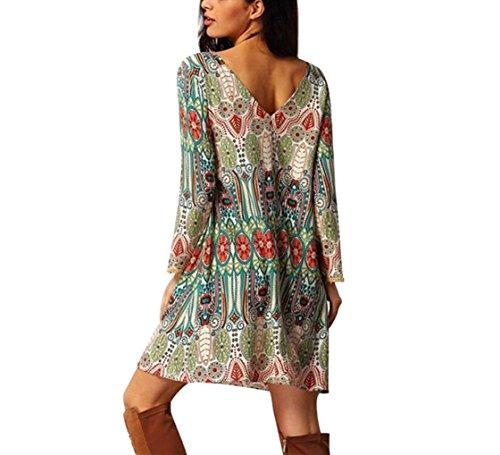 Casual Vintage Style BSGSH Dress Shift Printed Beach Women Summer Bohemian Green Ethnic wEEqX0f