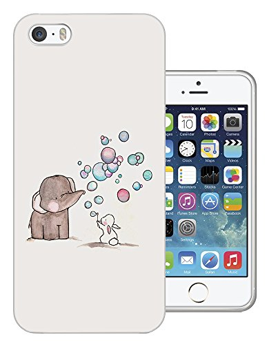 1245 - Cool Fun Trendy Cute Elephant Bunny Rabbit Heart Love Balloon Kawaii Funny Design iphone 4 4S Fashion Trend CASE Gel Rubber Silicone All Edges Protection Case Cover