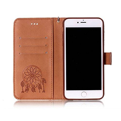 Imprint Dream Catcher PU Leather Wallet Tasche Hüllen Schutzhülle - Case für iPhone 7 Plus - Brown