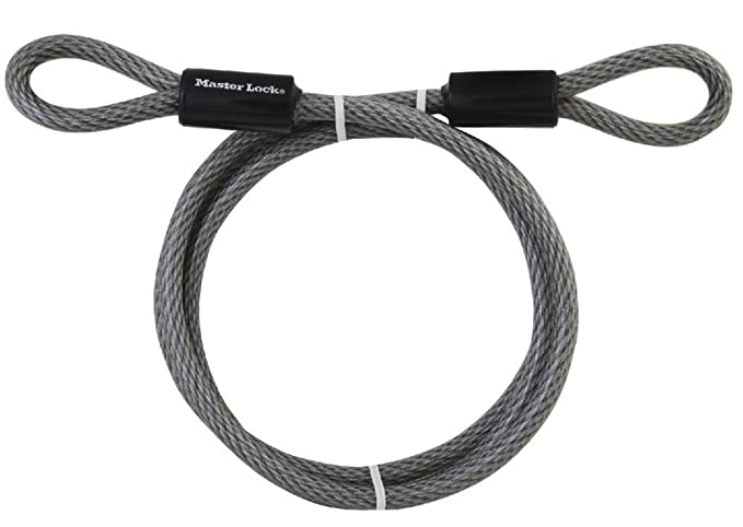 Master Lock 78DPF Heavy Duty Looped End Cable, 6 Feet Braided Steel ...