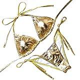 OMKAGI Ladies' New Liquid String Bikini Metallic Thong Bathing Suit 2 Pieces Swimsuit (M, Gold)