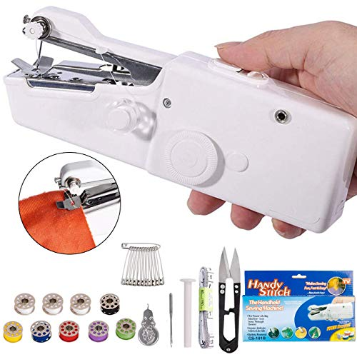 DUTISON Handheld Sewing Machine – Mini Cordless Portable Electric Sewing Machine – Home Handy Stitch for Clothes Quick Repairing with 15 Accessories