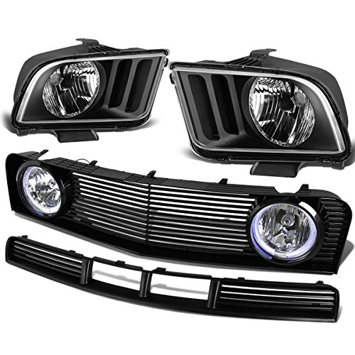Ford Mustang 4.0L V6 Pair of Black Housing Clear Corner Headlight+Upper & Lower Grille+Halo Fog Lamp (Housing Replacement Lower)