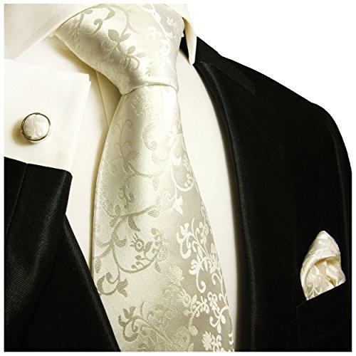 Cravate de mariage homme ivoire floral ensemble de cravate 3 Pièces ( longueur 165cm )