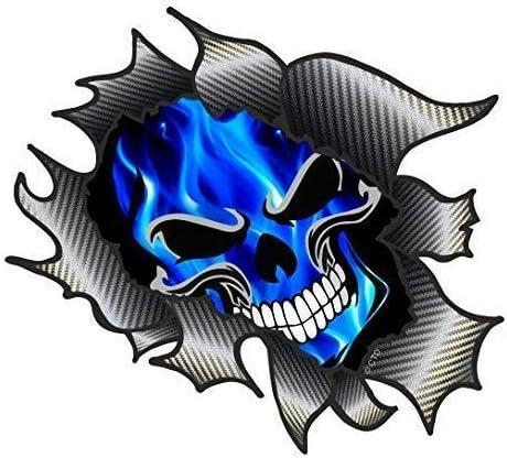 Déchiré déchiré métal RIP avec Gothique Crâne /& bleu électrique Flammes Autocollant Voiture
