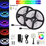 Bluetooth LED Strip Light, Topled Light Waterproof Flexible RGB Strip Light Kit,5050 SMD 300Leds Rope Light for iOS/Android App Controlled for Festival Decoration (2x5M Bluetooth Light Strip)