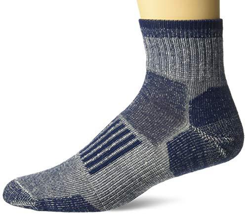 Wise Blend Men's 85% Merino Wool Knit Everyday Quarter Socks 2 Pair Pack, Denim, Large