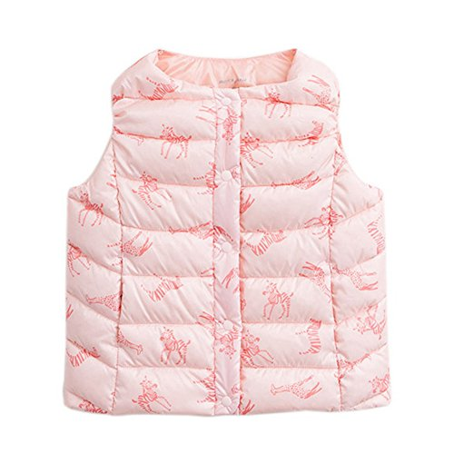 marc janie Baby Toddler Boys Girls' Packable Lightweight Down Puffer Vest 3T (Nylon Print Vest)