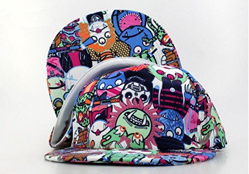 Cartoon Zombie Snackback Cap Hip Hop Sports Hat Birthday Christmas Gift (Blue)