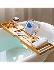 Bathtub Tray Bamboo Bath Caddy Unique Gifts Bath Tray with 12-in-1 Features Bathtub Table Adjustable Sliding, Non-Slip Wood Bath Tray Holds Books/Tablets/Cell Phone/Towels/Foods/Wineglass/Soap Dish