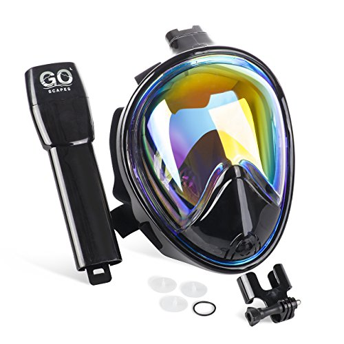 (GoScapes Full Face Snorkel Mask – Black Snorkeling Mask with Stylish UV Protection Rainbow Mirror Coating, GoPro Compatible, Panoramic 180 degree view, Anti-Fog and Anti-Gag Technology (L/XL))