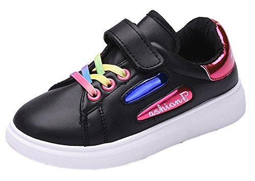 VECJUNIA Mädchen Jungen Multi Farbe Leder Sneakers Unisex Kinder Komfort Low Top Laufschuhe Rot