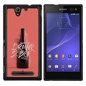 """Be-Star Único Patrón Plástico Duro Fundas Cover Cubre Hard Case Cover Para Sony Xperia C3 D2533 / C3 Dual D2502 ( Botella borracha Sober Vino Rosado Durazno"""" )"""
