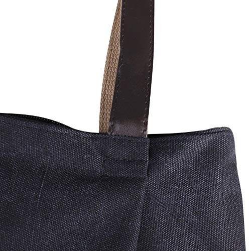 Travel Shoulder Bag Bag with Holiday Large Black Bag Canvas Reinforced School Zipper Handbag for Purse Strap Shoulder Bag Bag Home Beach with Office Lady Shopping Tote wq6ZFWC
