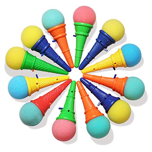 Favor Cones - Novelty Place Ice Cream Shooters Toy (Pack of 12) - Squeeze N' Pop Game - Multi-Color Icecream Cone Foam Ball Launcher - Great Party Favors and Carnival Prize for Kids and Children (7 inch)
