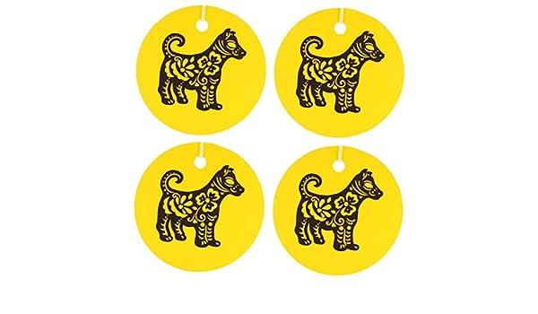 Eclectic Lady Conjunto de cuatro chinos ambientadores perro zodiaco leche de avena y miel Amarillo: Amazon.es: Hogar