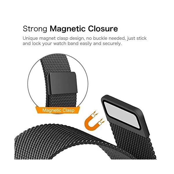 51G0aqiT59L Priefy Loop Strap Stainless Steel Milanese with Magnetic Lock Buckle Compatible with iWatch Series 4 and 5 {44mm Black}