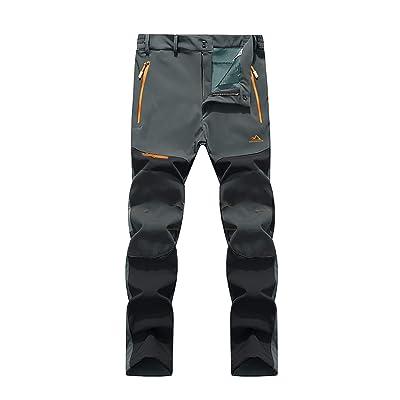 LASIUMIAT Mens Winter Hiking Pants Windproof Fleece Lined Snowboard Ski Pants with 5 Zipper Pockets