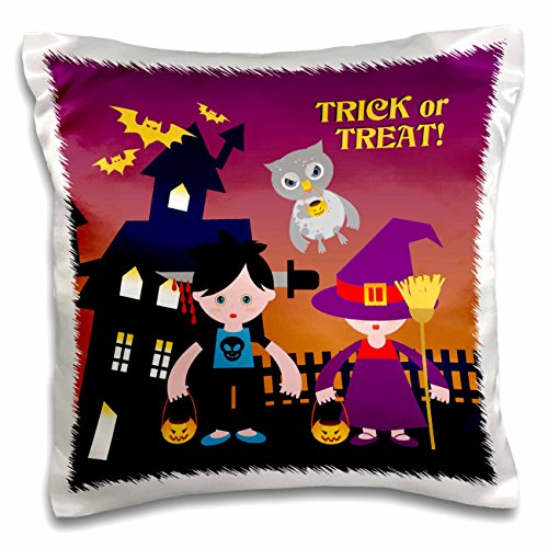 Belinha Fernandes - Halloween Celebration - Trick or treat message with owl and kids dressed up in halloween costumes - 16x16 inch Pillow Case (pc_125914_1) (Owl Dressed Up For Halloween)