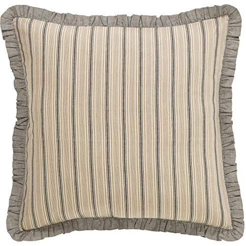 (VHC Brands Farmhouse Bedding - Sawyer Mill Tan Fabric Euro Sham, One Size, Dark Creme White )