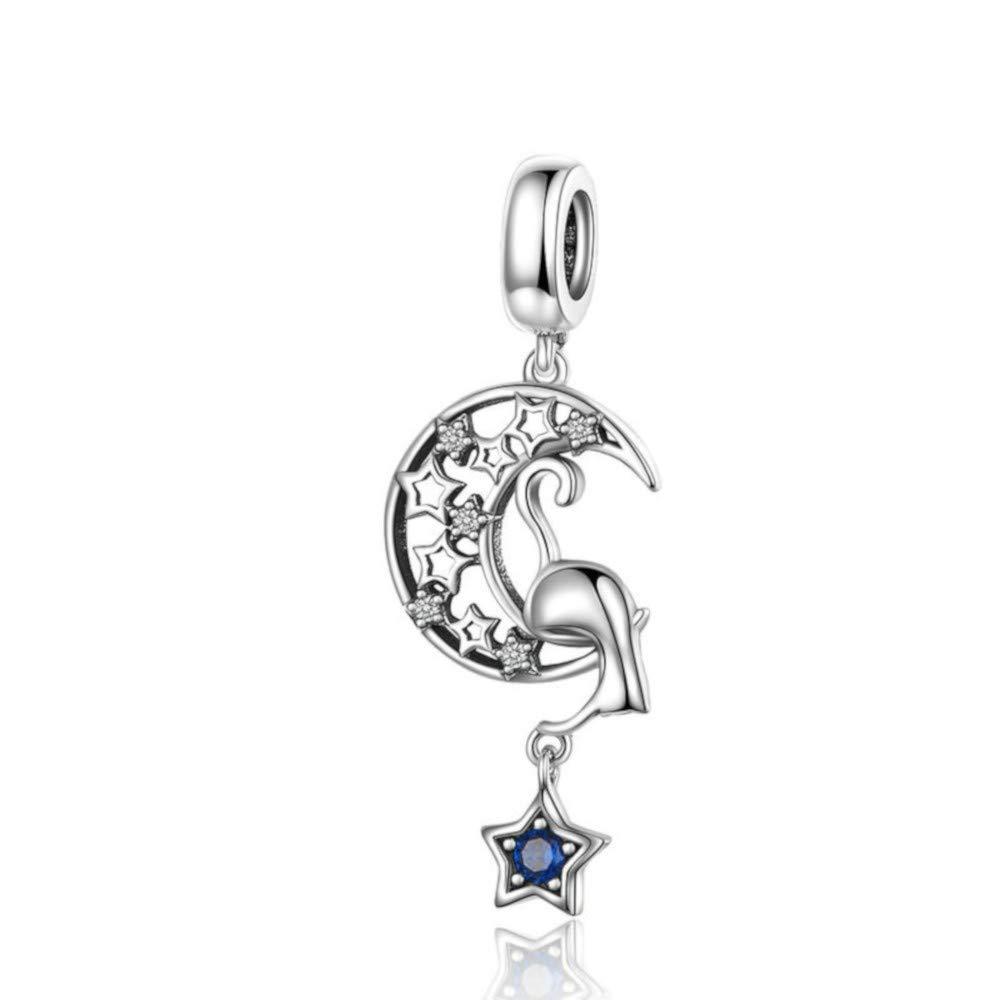 Mijn bedels Charm Pendentif en Argent Chat Curieux avec Lune et /étoile