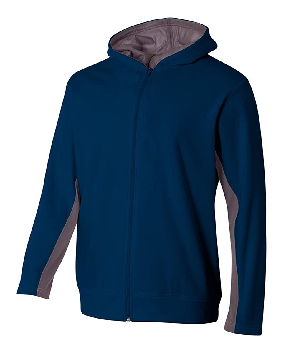 A4 Boys Full Zip Color Block Fleece Hoodie Navy//Graphite