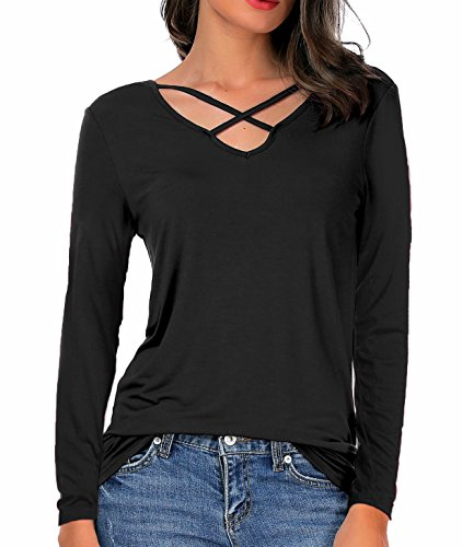 Cross Criss Knit Top - CPOKRTWSO Women's Casual Long Sleeve T-Shirt Blouse Criss Cross V-Neck Tees Tops Black L