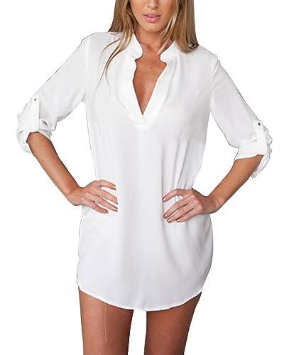 Mujeres Bluas Con Manga Larga V Cuello Camisa Blouses T Shirt Pullover Tunica OL Sólido Color