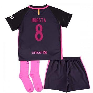 af4f5aa9 2016-17 Barcelona Away Little Boys Mini Kit (With Sponsor) (Iniesta ...