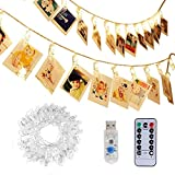Adecorty 40 LEDs Photo Clips String Lights/Holder, Fairy Twinkle Lights with Remote and Timer 16.4ft Operated by USB for Hanging Pictures Wedding Wall Baby Teen Girls Bedroom Decor(Warm White 8 Modes)