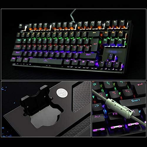 Vaorwne K28 Backlit Gaming Mechanical Keyboard Colorful LED USB Wired Game Keyboard 26 Keys Anti-ghosting Free Hand Care