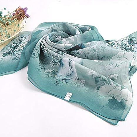 50CM 160 Fansi 1/Pezzo Foulard Femmina in Mussola di Seta Stampato Fiore Scialle Protezione Solare Foulard in Seta Moda Primavera Estate Autunno e Inverno Blu