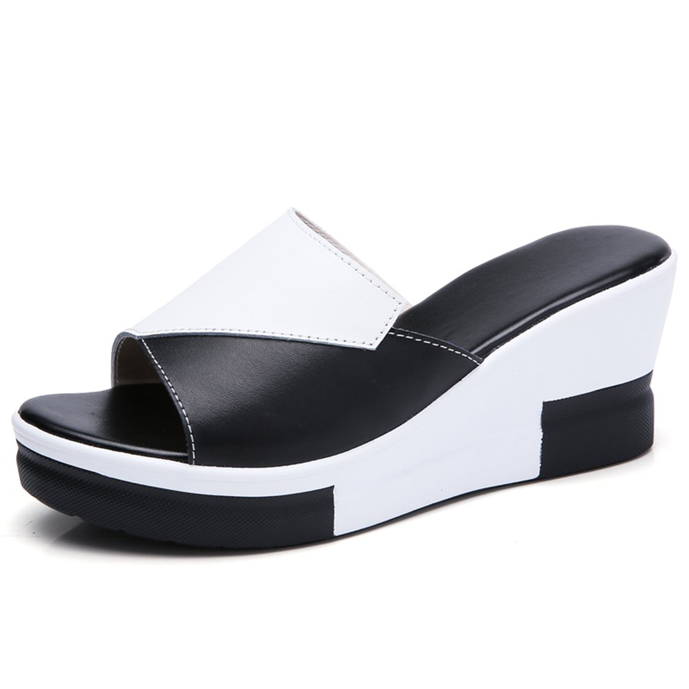 XW Zapatillas de Verano Zapatos de Mujer Material de Alta Calidad Summer Fashion Holiday Beach Zapatillas Seaside 2 Colores Opcionales (Mesa Impermeable: 3CM, con Alto: 7.5CM) para Mujeres Chicas
