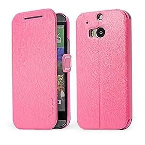 HAINENT [Rose] ROSE Multi-Function Flip Wallet PU de Cuero Funda Carcasa Soporte Stand con Tarjeta de Crédito Slots For HTC One M8