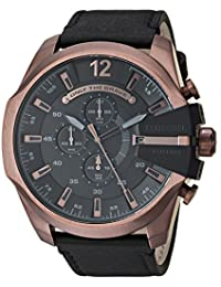 Diesel Men's 'Mega Chief' Quartz Stainless Steel and Leather Casual Watch, Color:Black (Model: DZ4459)