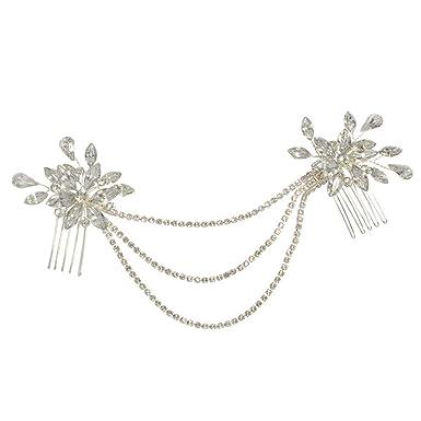 ULAPAN Hochzeit Haarkamm Mit Perlen,Kristall Braut Haarkamm Mit Blumen,Goldenem Und Silbrigem Braut Haarkamm Für Hochzeit