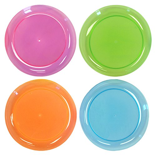 Party Essentials Hard Plastic 9-Inch Round Party/Luncheon Plates, Assorted Neon, 40-Count]()