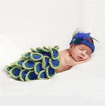 Pepel Fotografie Prop Mädchen Baby Schönes Pfau Haken Strick Kostüm