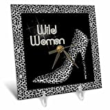 Cheap 3dRose dc_21802_1 Silver Cheetah Print Wild Woman Stiletto Pump and Bling Desk Clock, 6 by 6-Inch