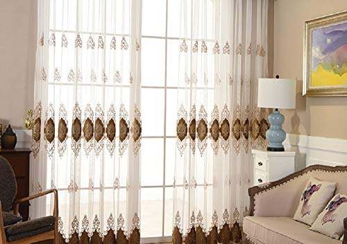 Aside Bside European Style Sheer Window Curtains Rod Pocket Floral Graphic Pattern Semi Transparent Voile Panel Treatment Drape for Living Room Bedroom(1 Panel, W 50 x L 63 inch, Brown)