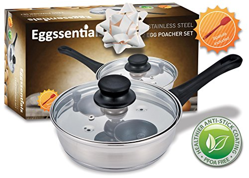 Stainless Steel Egg Poacher (PremiumWares- Eggssentials Poached Egg Maker - Nonstick 2 Egg Poaching Cups - Stainless Steel Egg Pan FDA Certified Food Grade Safe PFOA free)