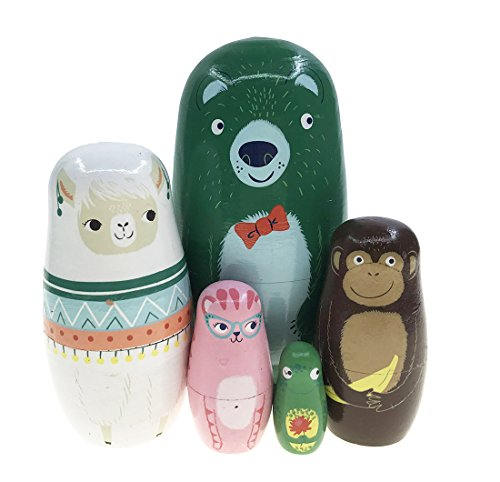 Arsdoll Cute Green Bear Alpaca Monkey Cat Frog Animal Nesting Doll Wooden Matryoshka Russian Doll Handmade Stacking Toy Set 5 Pieces For Kids Girl Home Decoration by Arsdoll