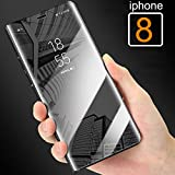 for iPhone 8 - Mobistyle Smart View Semi Clear Mirror Flip with Luxury Stand Cover Case for Apple iPhone 8 (Black)