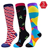 EHbee 1/3 Pairs Compression Socks 20-30 mmHg for Women & Men, Graduated Compression Stockings for Running, Athletic, Flight Travel, Skiing, Maternity Pregnancy - Boost Circulation.