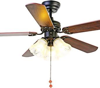 Luz de techo rústica con ventilador, Sala Araña de LED antiguo ...